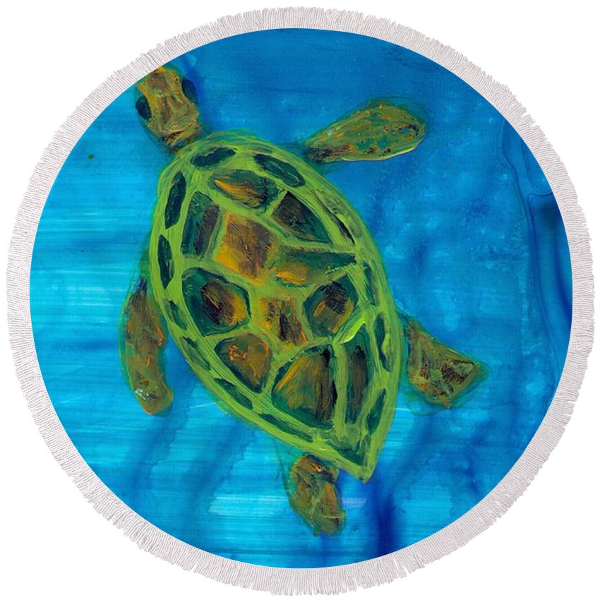 Turtle Round Beach Towel featuring the painting Going Up For Air by Wanda Pepin