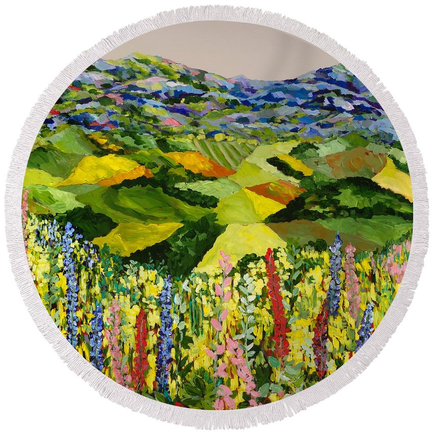 Landscape Round Beach Towel featuring the painting Going Wild by Allan P Friedlander