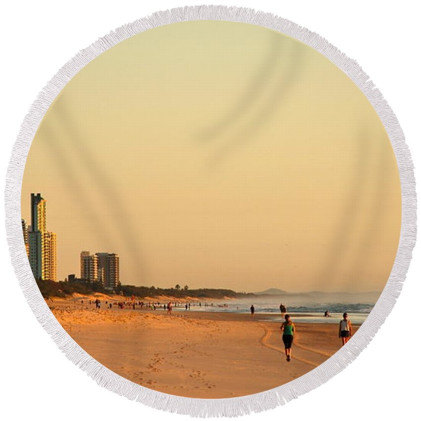 Beach Round Beach Towel featuring the photograph Gold Coast Beach by Eric Tressler