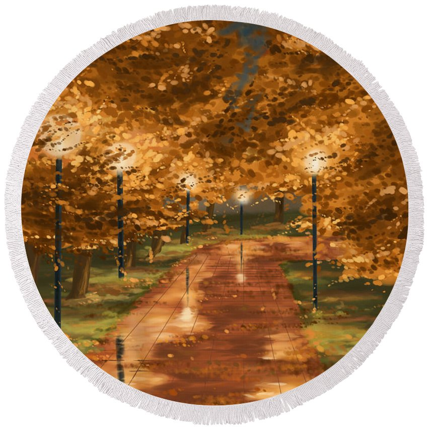 Autumn Round Beach Towel featuring the painting Gold Reflections by Veronica Minozzi