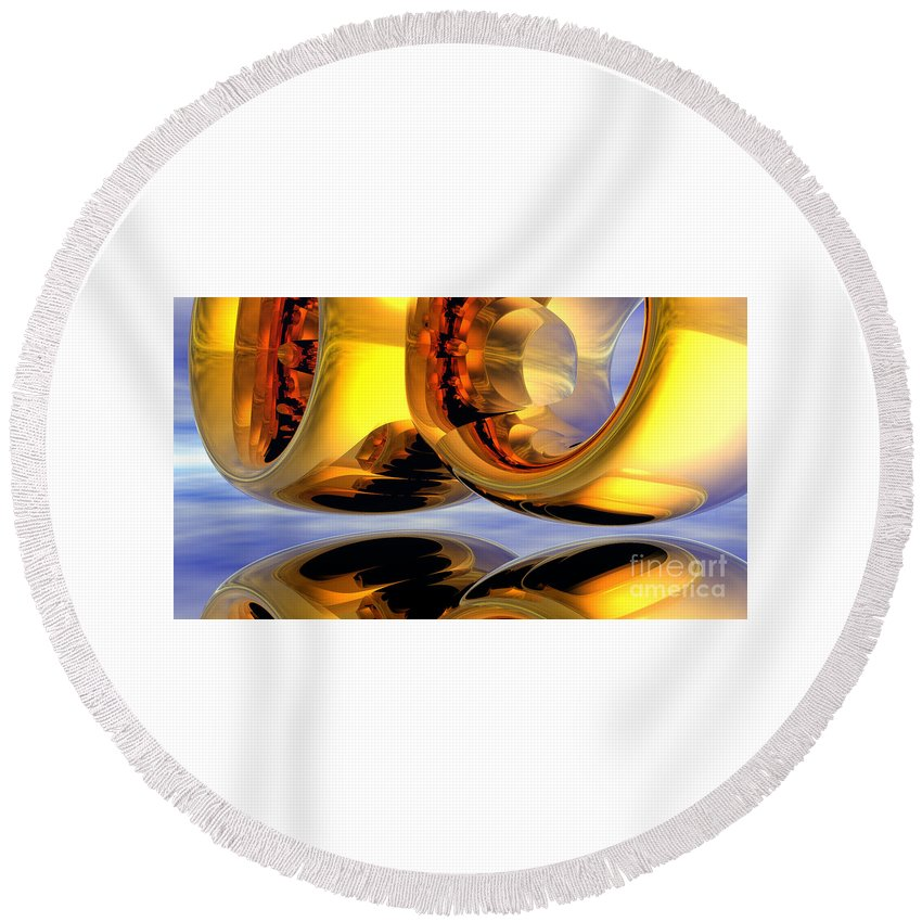 Alien Round Beach Towel featuring the digital art Gold Ringer by Alan M Thwaites