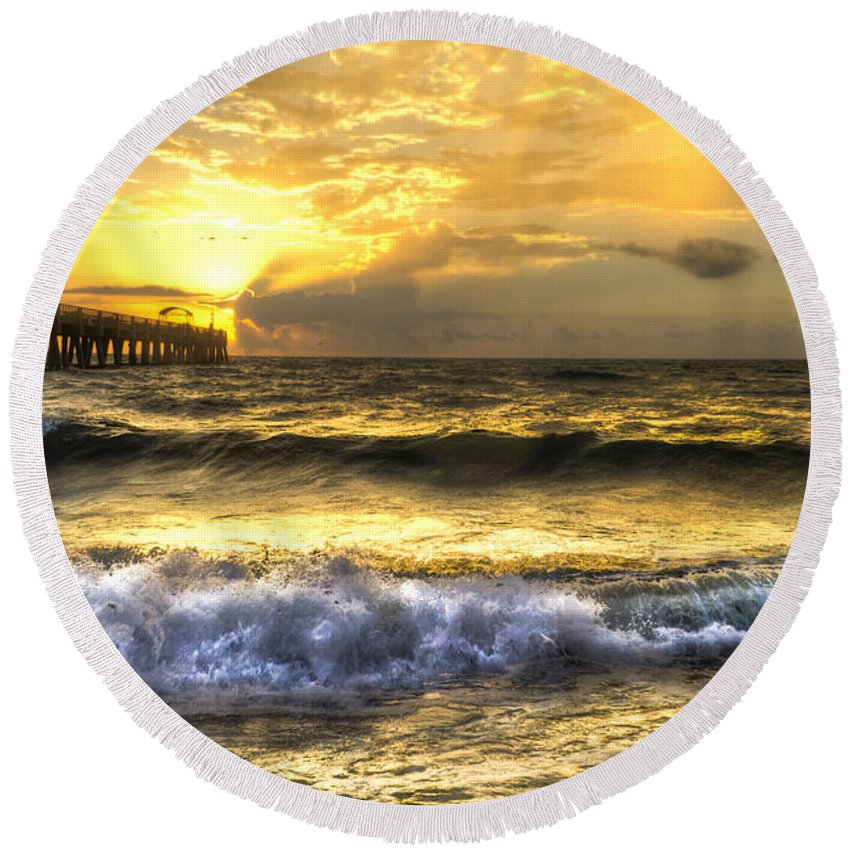 Clouds Round Beach Towel featuring the photograph Gold Rush by Debra and Dave Vanderlaan