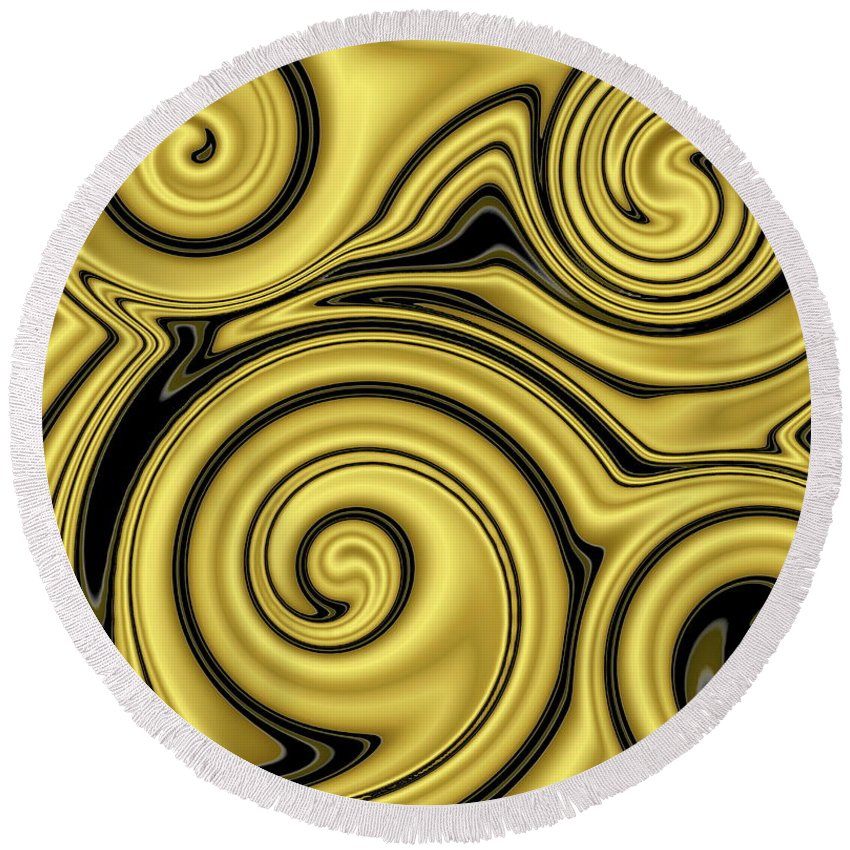Swirl Round Beach Towel featuring the digital art Gold Swirl by Ron Hedges