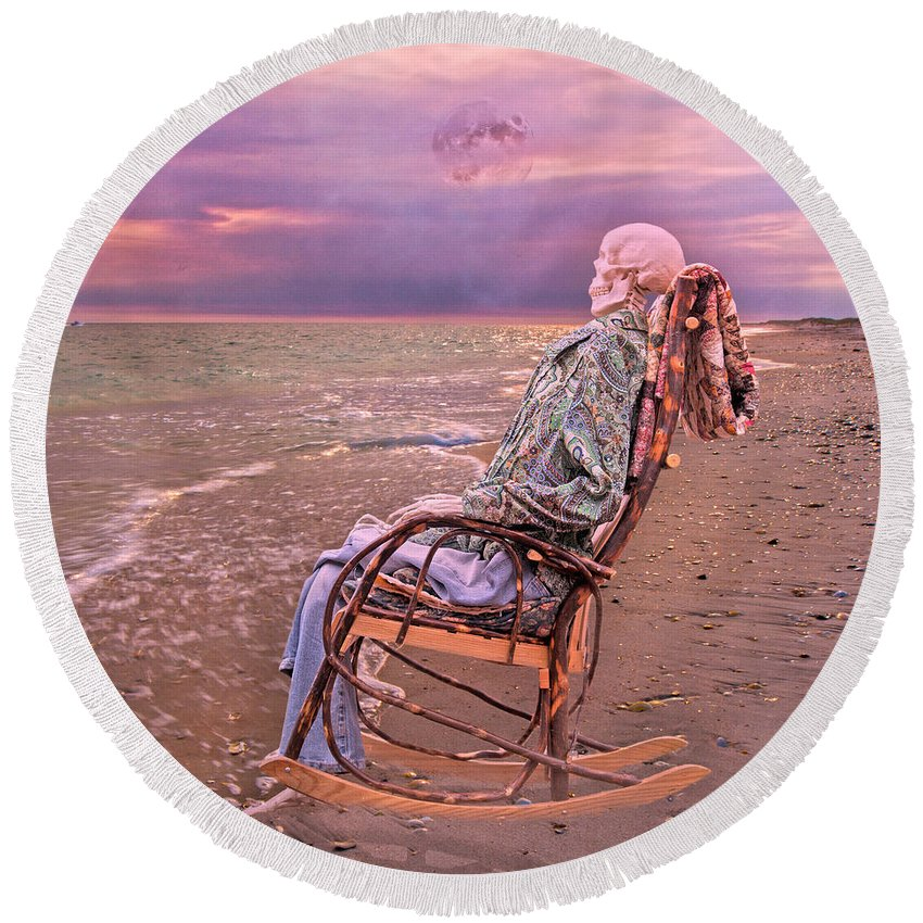 Human Round Beach Towel featuring the photograph Golden And Grateful Hour by Betsy Knapp