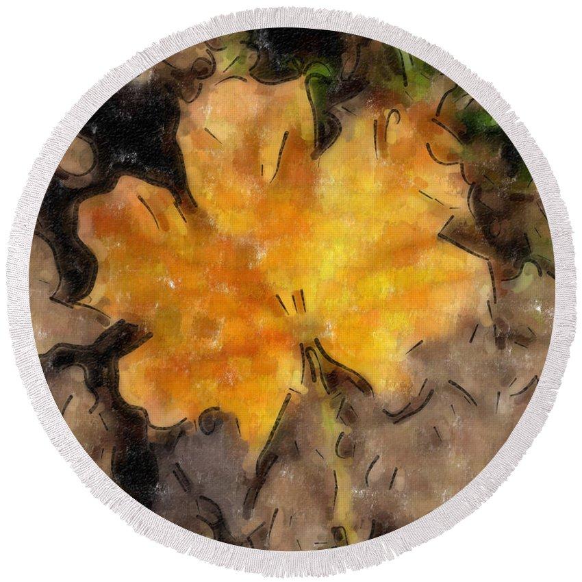 Autumn Leaf Round Beach Towel featuring the digital art Golden Autumn Maple Leaf Filtered by Conni Schaftenaar