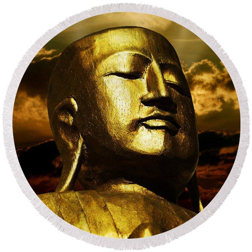 Figur Round Beach Towel featuring the photograph Golden Buddha by Joachim G Pinkawa