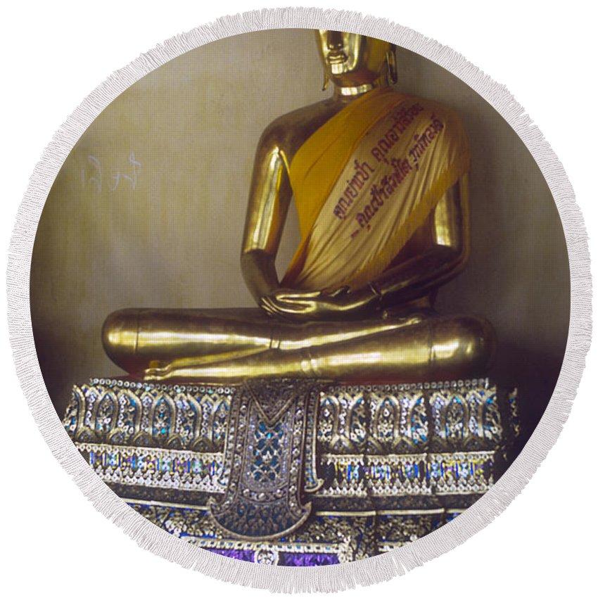 Wat Pho Reclining Buddha Temple Bangkok Thailand Temples Golden Buddha Buddhas Statue Statues Thai Art Artwork Architecture Landmark Landmarks Round Beach Towel featuring the photograph Golden Buddha On Pedestal by Bob Phillips