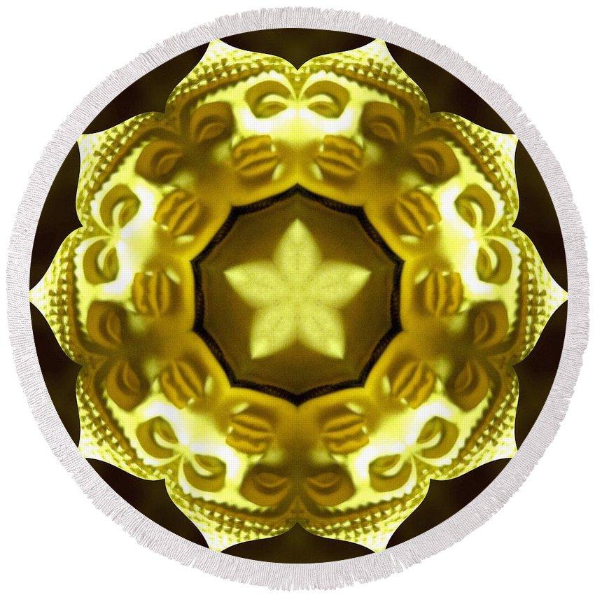 Sacredlife Mandalas Round Beach Towel featuring the photograph Golden Buddha Star by Derek Gedney