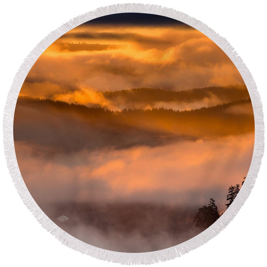 Dawn Round Beach Towel featuring the photograph Golden Clouds by Greg Nyquist