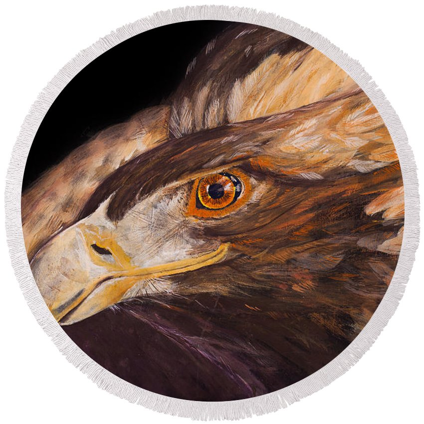 Eagle Round Beach Towel featuring the painting Golden Eagle Close Up Painting By Carolyn Bennett by Simon Bratt Photography LRPS