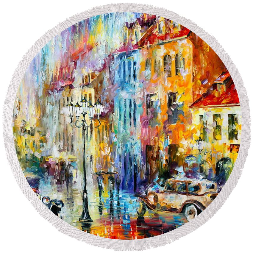 Afremov Round Beach Towel featuring the painting Golden Evening by Leonid Afremov
