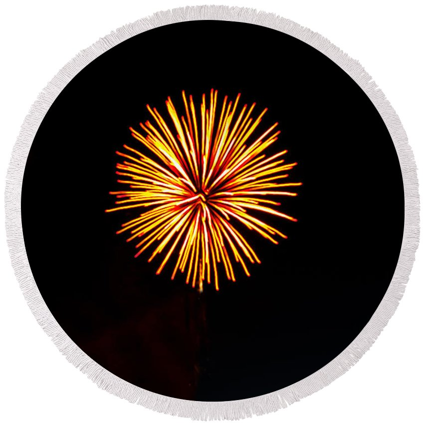 Fireworks Round Beach Towel featuring the photograph Golden Fireworks Flower by Robert Bales