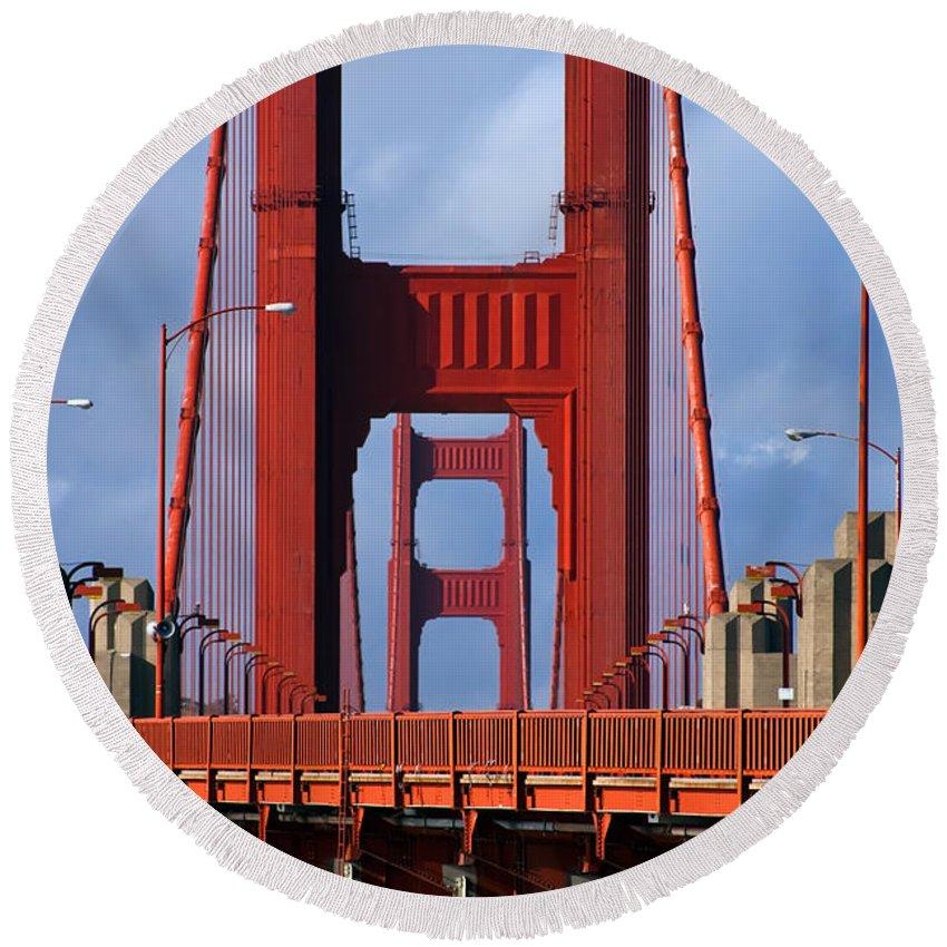 3scape Round Beach Towel featuring the photograph Golden Gate Bridge by Adam Romanowicz