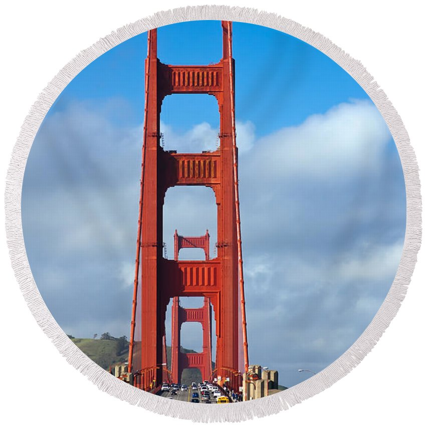3scape Round Beach Towel featuring the photograph Golden Gate Bridge by Adam Romanowicz