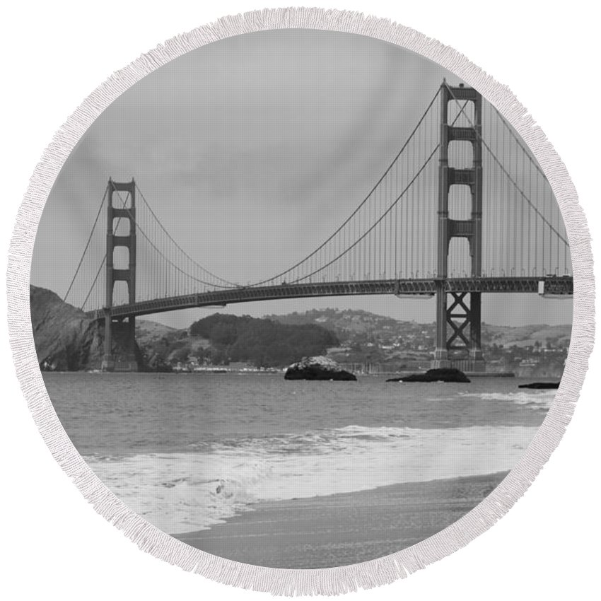 Golden Gate Round Beach Towel featuring the photograph Golden Gate Bridge And Beach by Christiane Schulze Art And Photography