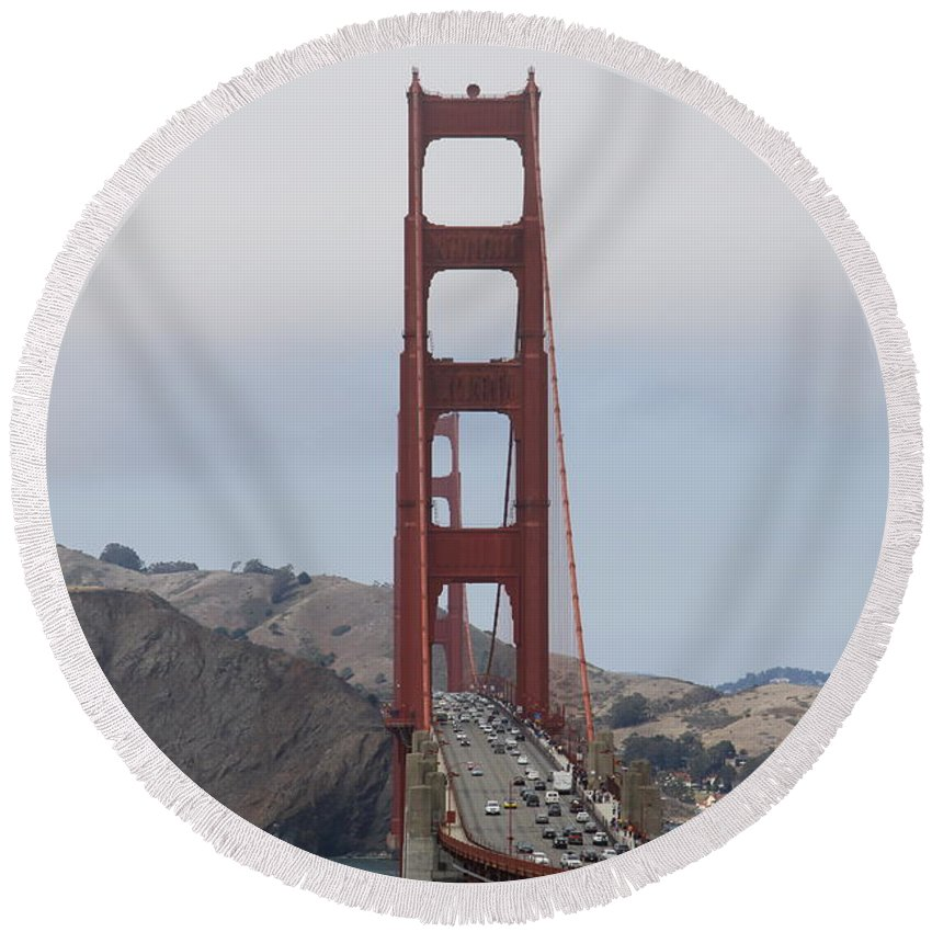 Golden Gate Round Beach Towel featuring the photograph Golden Gate Bridge by Christiane Schulze Art And Photography