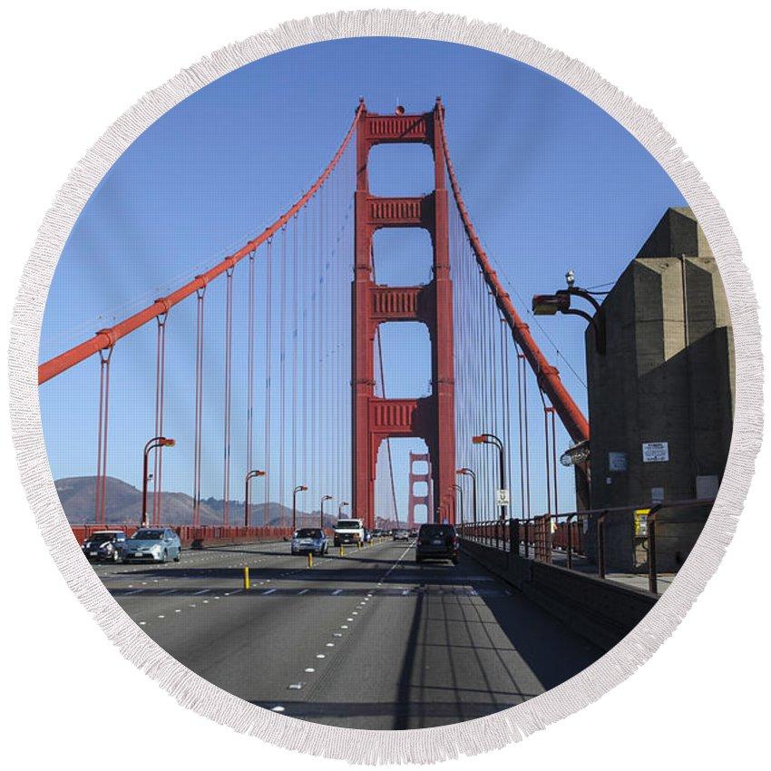 California Round Beach Towel featuring the photograph Golden Gate Bridge by Gal Eitan