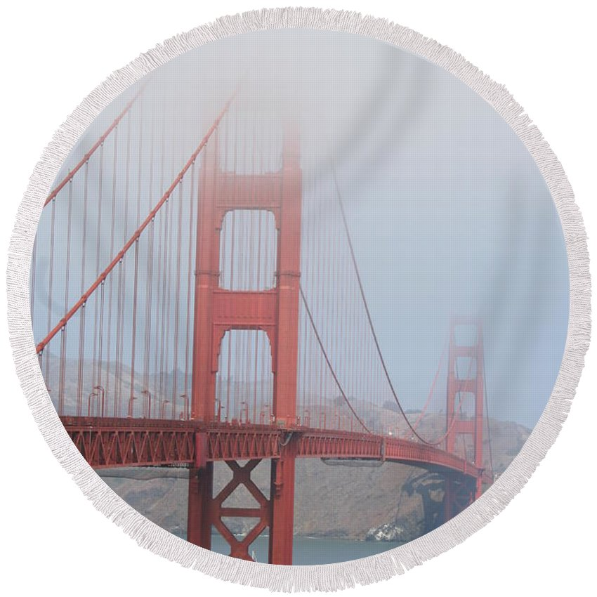 Bridge Round Beach Towel featuring the photograph Golden Gate Bridge In Fog by Christiane Schulze Art And Photography