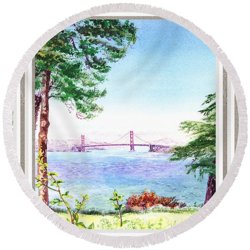 San Francisco Round Beach Towel featuring the painting Golden Gate Bridge View Window by Irina Sztukowski