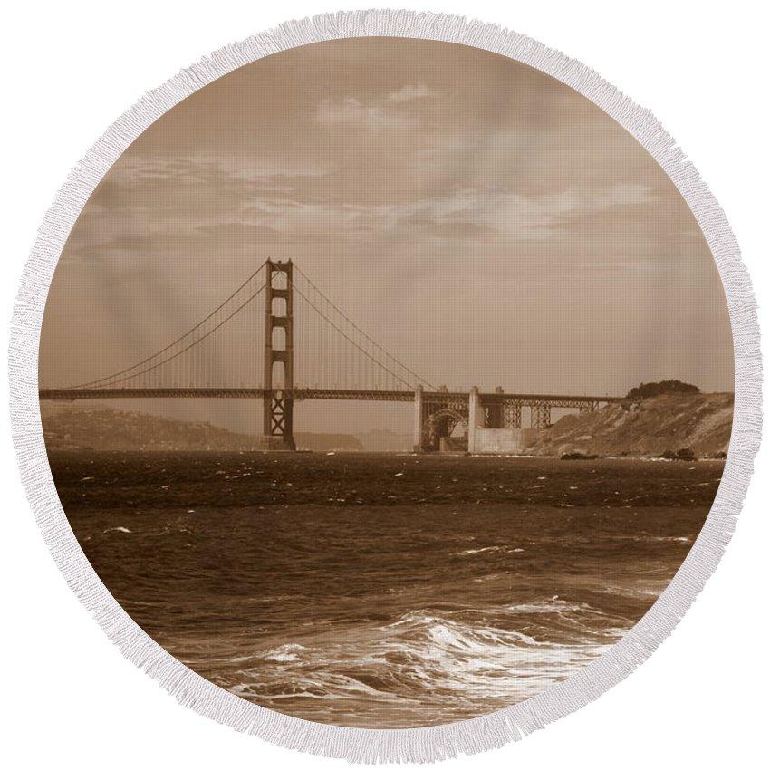 Golden Gate Bridge Round Beach Towel featuring the photograph Golden Gate Bridge With Surf Sepia by Carol Groenen