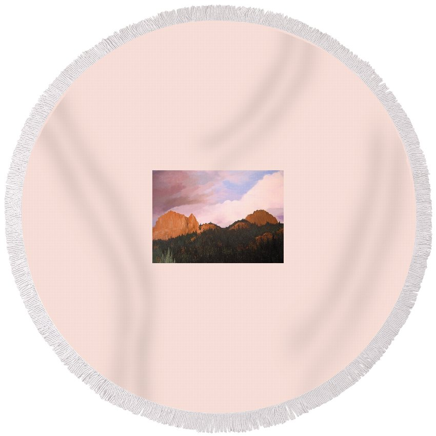 Mountains Round Beach Towel featuring the painting Golden Gate by Hunter Jay