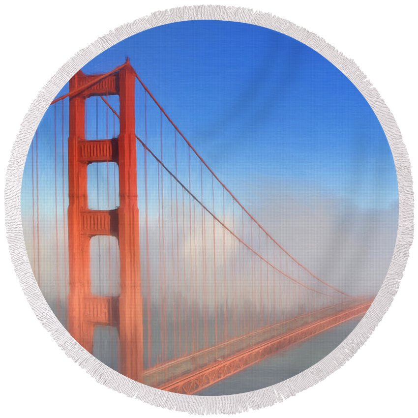 Bridge Round Beach Towel featuring the painting Golden Gate In Morning Fog by Dominic Piperata
