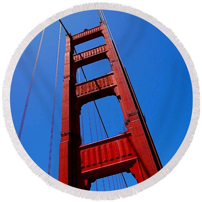 Golden Gate Bridge Round Beach Towel featuring the photograph Golden Gate Tower by Rona Black