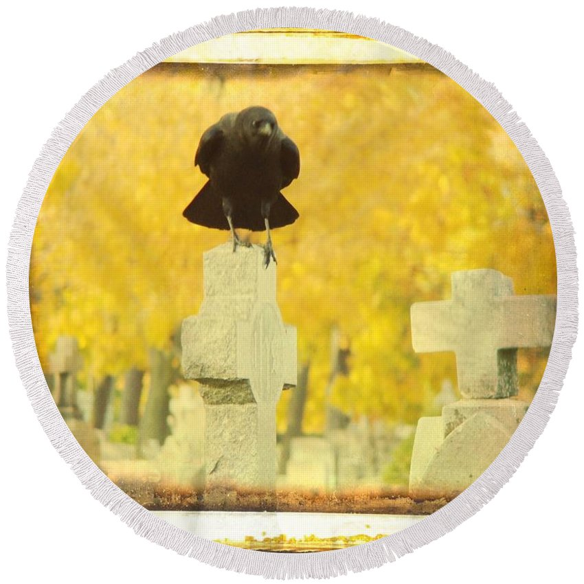 Golden Fall Graveyard Trees Round Beach Towel featuring the photograph Golden Gothic by Gothicrow Images