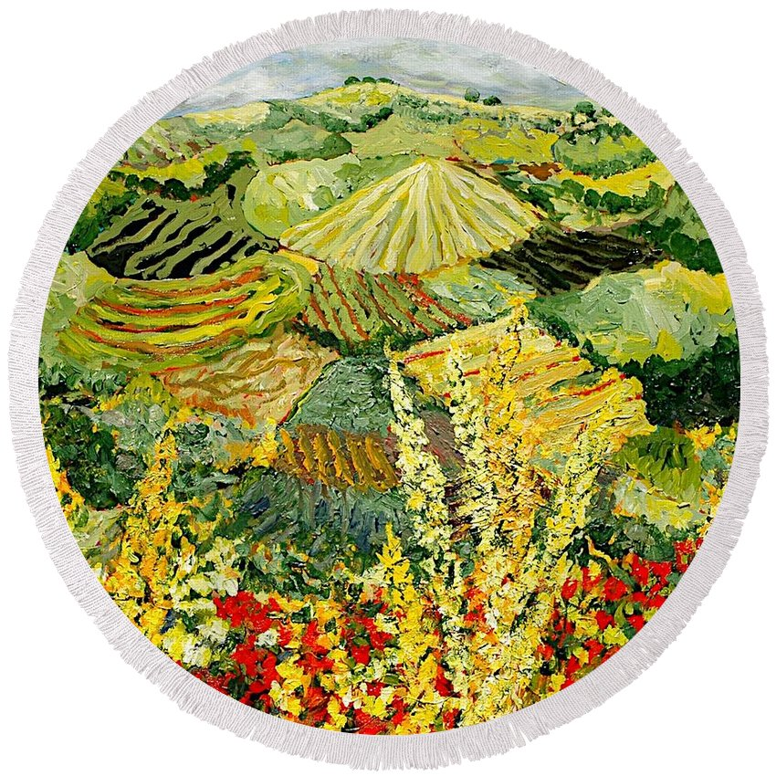 Landscape Round Beach Towel featuring the painting Golden Hedge by Allan P Friedlander