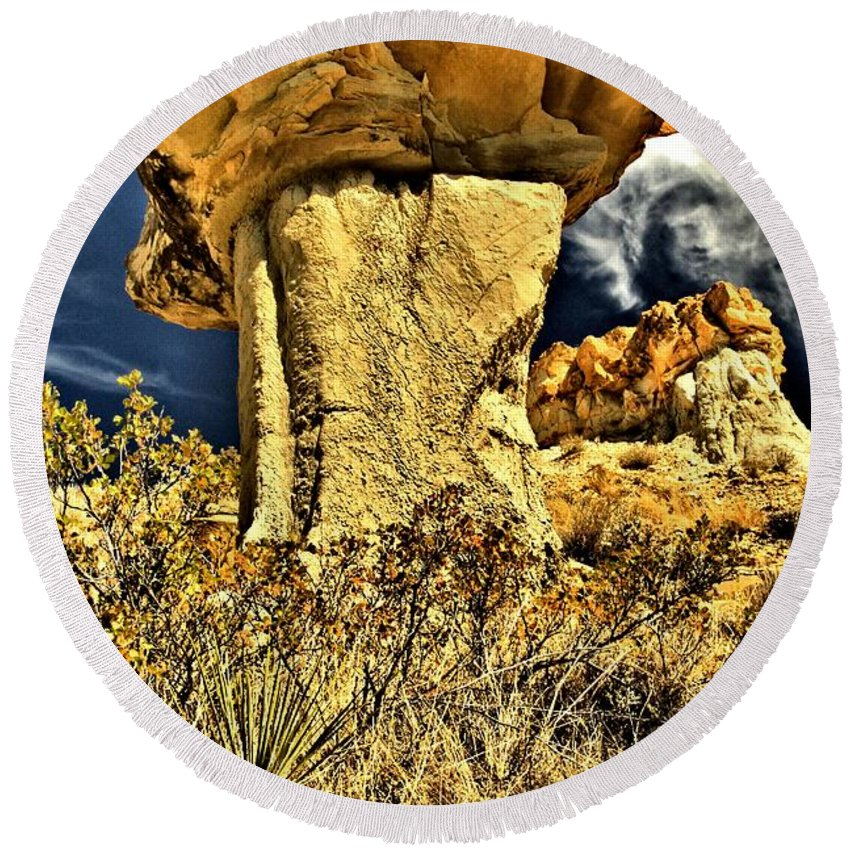 Theodore Roosevelt National Park Round Beach Towel featuring the photograph Golden Hoodoo by Adam Jewell