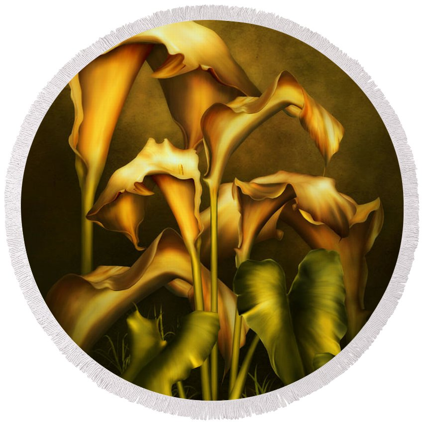 Realism Round Beach Towel featuring the mixed media Golden Lilies By Night by Georgiana Romanovna