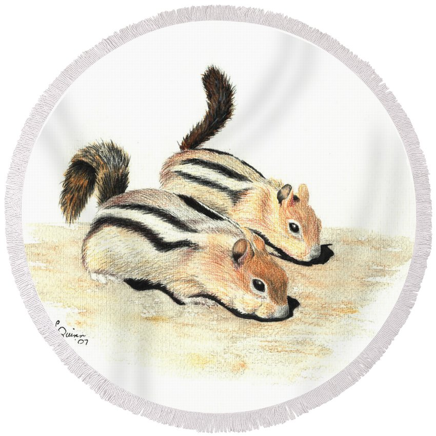 Nature Round Beach Towel featuring the painting Golden-mantled Ground Squirrels by Lynn Quinn