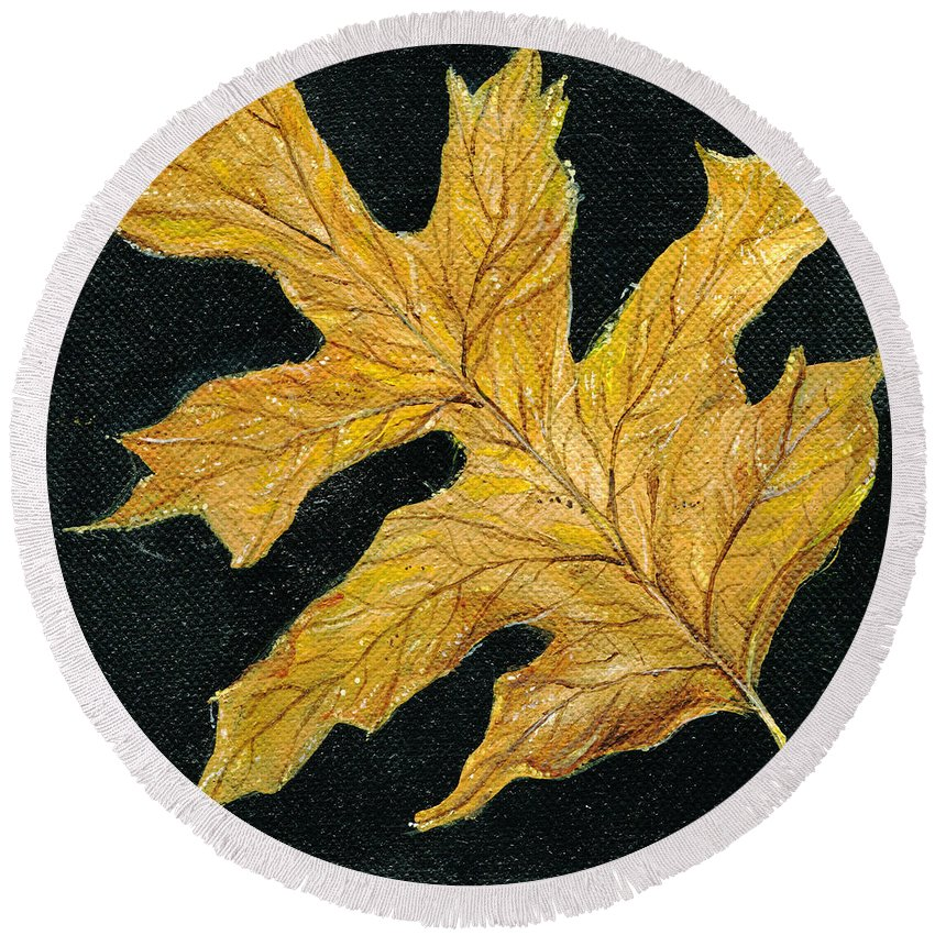 Painting Round Beach Towel featuring the painting Golden Oak Leaf by Lizi Beard-Ward