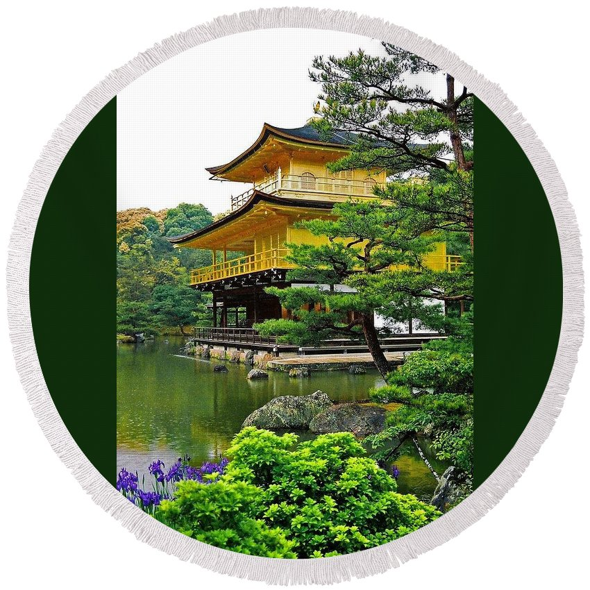 Asia Round Beach Towel featuring the photograph Golden Pavilion - Kyoto by Juergen Weiss