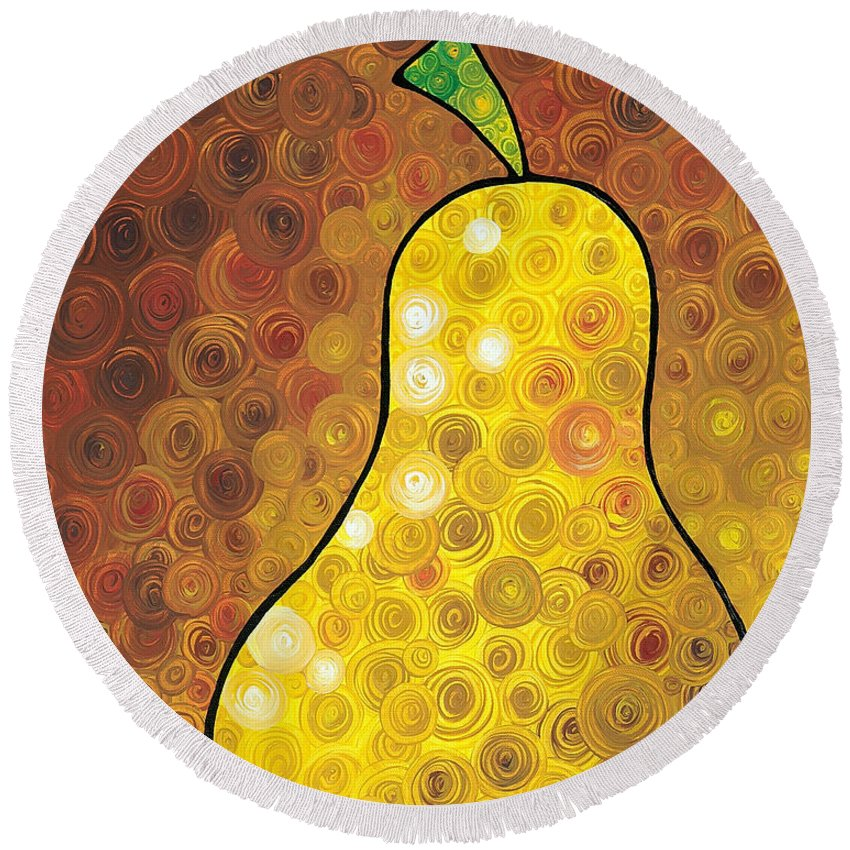 Pear Round Beach Towels