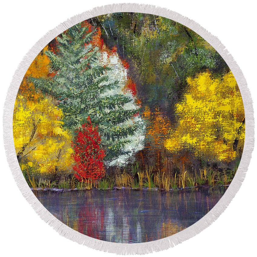 Landscape Round Beach Towel featuring the painting Autumn Tapestry by Margaret Bobb