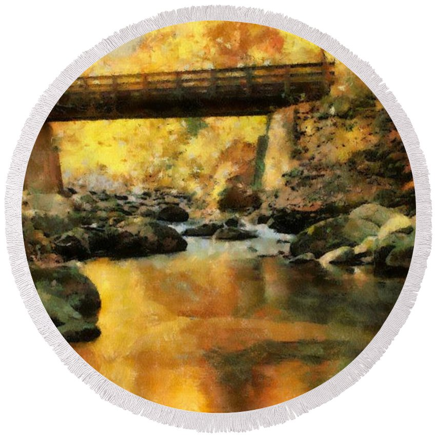 Golden Reflection Autumn Bridge Round Beach Towel featuring the painting Golden Reflection Autumn Bridge by Dan Sproul