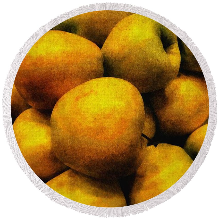 Apples Round Beach Towel featuring the painting Golden Renaissance Apples by RC DeWinter