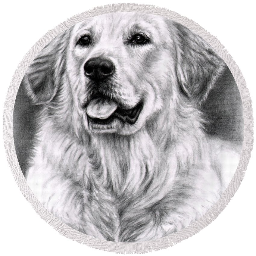 Dog Round Beach Towel featuring the drawing Golden Retriever Spence by Nicole Zeug