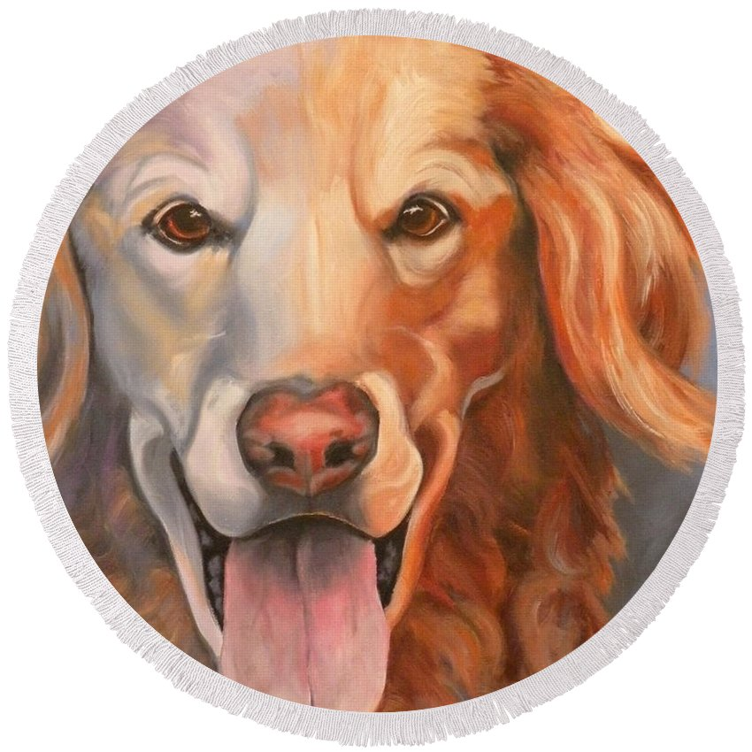 Dogs Round Beach Towel featuring the painting Golden Retriever Till There Was You by Susan A Becker