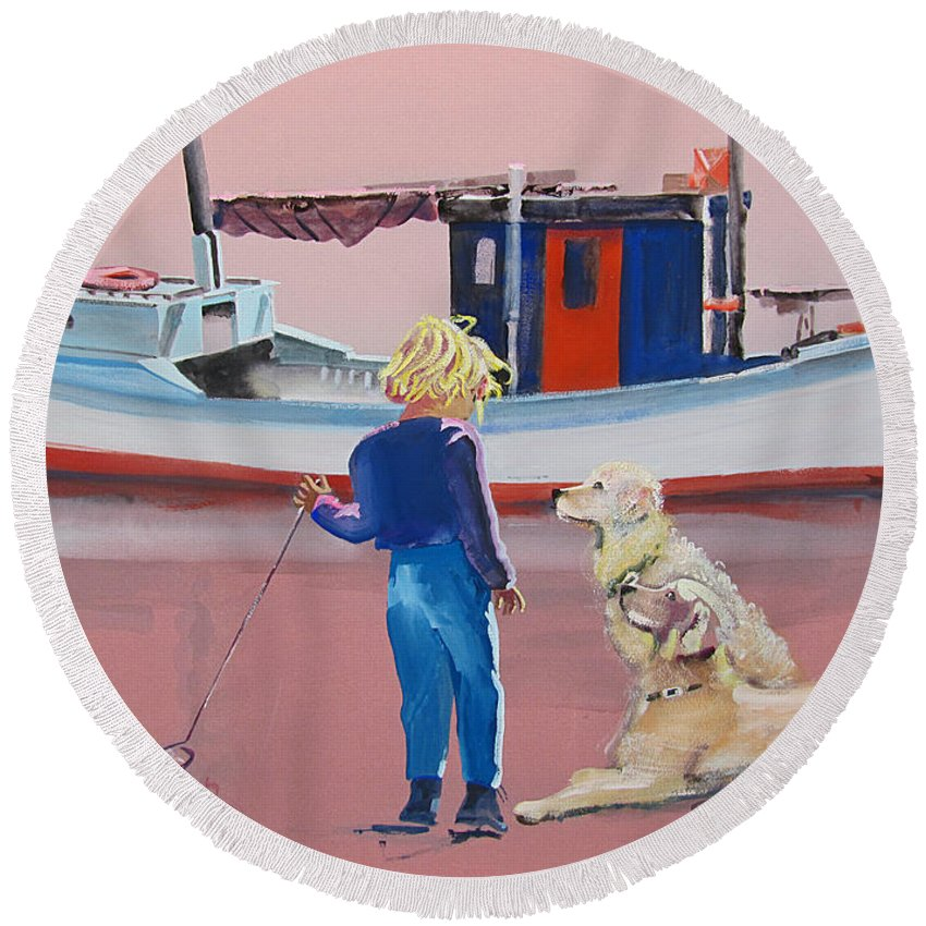 Retriever Round Beach Towel featuring the painting Golden Retrievers by Charles Stuart