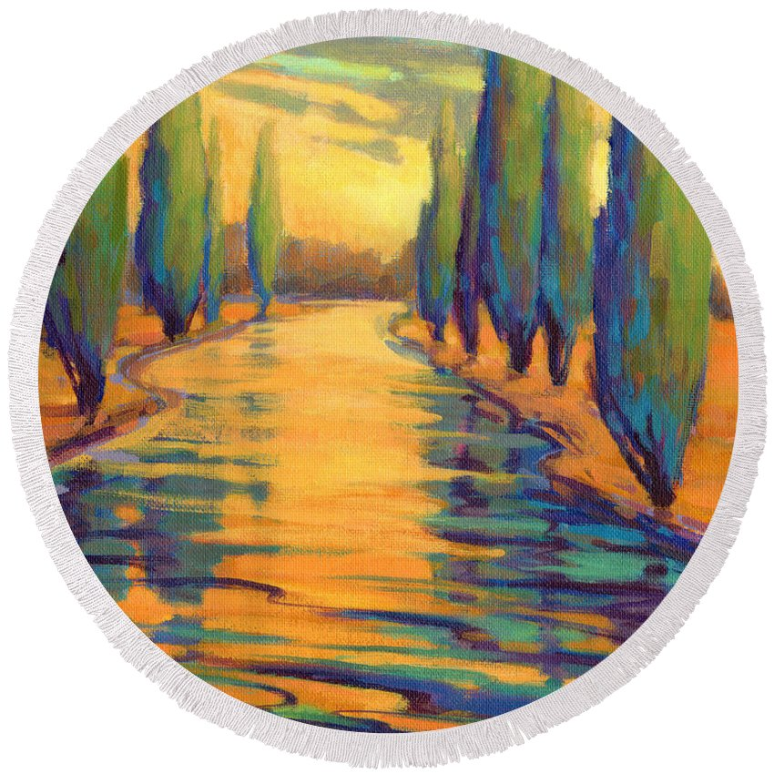 Cypress Round Beach Towel featuring the painting Golden Silence 3 by Konnie Kim