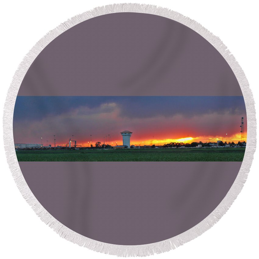 Golden Spike Round Beach Towel featuring the photograph Golden Spike Sunset Panorama by Sylvia Thornton