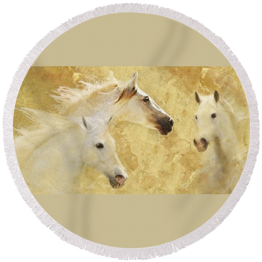 Golden Horses Round Beach Towel featuring the photograph Golden Steeds by Melinda Hughes-Berland
