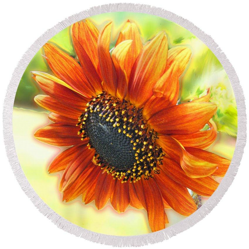 Amber Round Beach Towel featuring the digital art Golden Sunflower by Lizi Beard-Ward