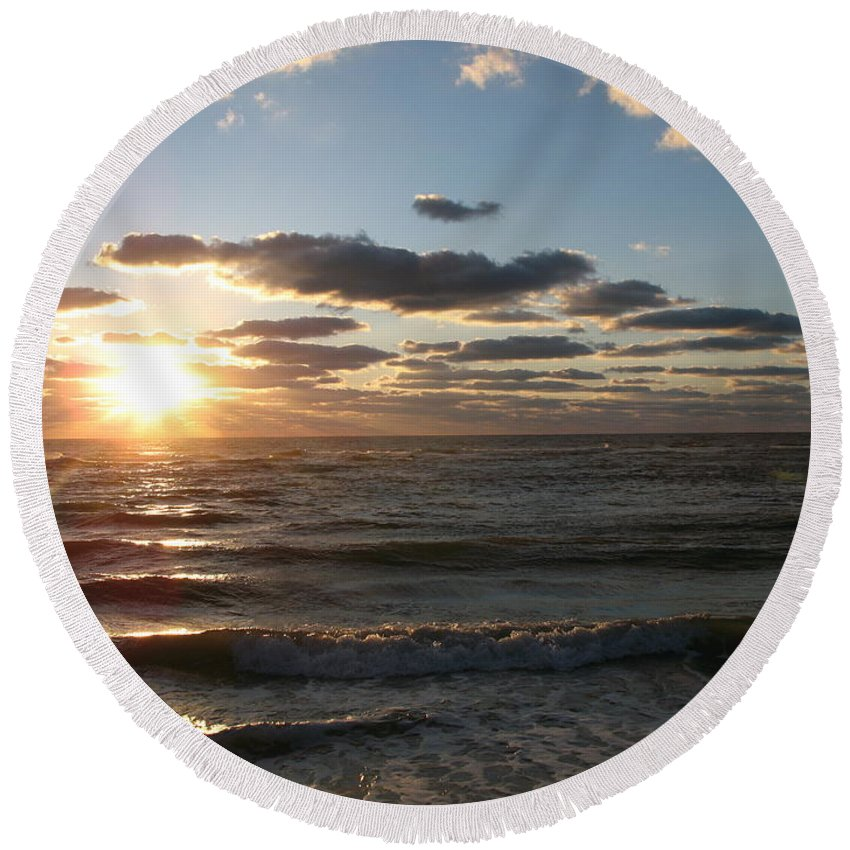 Sunset Round Beach Towel featuring the photograph Golden Sunset Clouds by Christiane Schulze Art And Photography