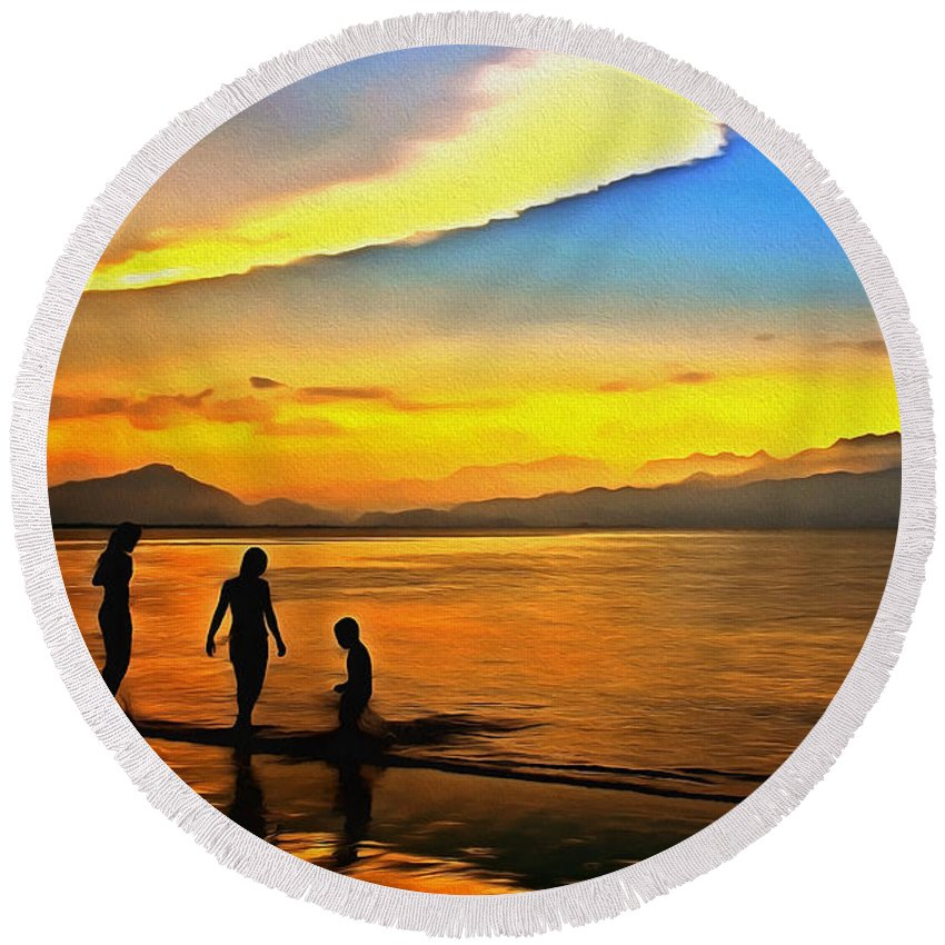 Sunset Round Beach Towel featuring the digital art Golden Sunset Silhouettes by Georgiana Romanovna