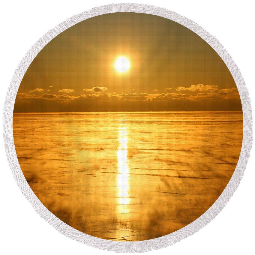 Sunrise Round Beach Towel featuring the photograph Golden Winter by Tiffany Erdman