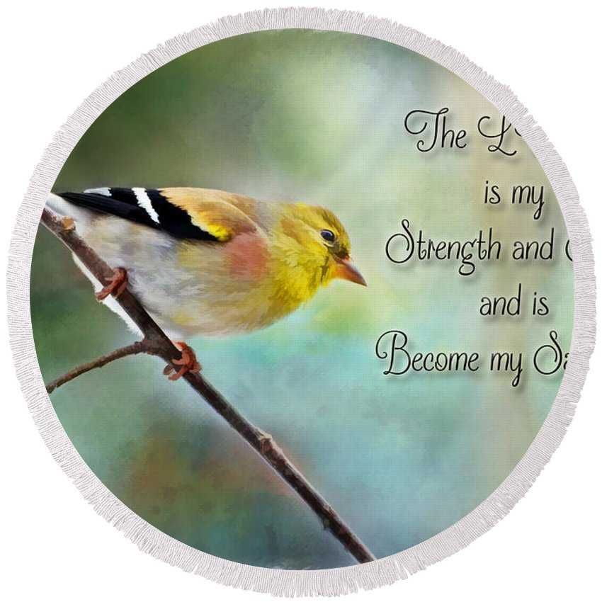 Yellow Round Beach Towel featuring the photograph Goldfinch With Rosy Shoulder - Digital Paint And Verse by Debbie Portwood
