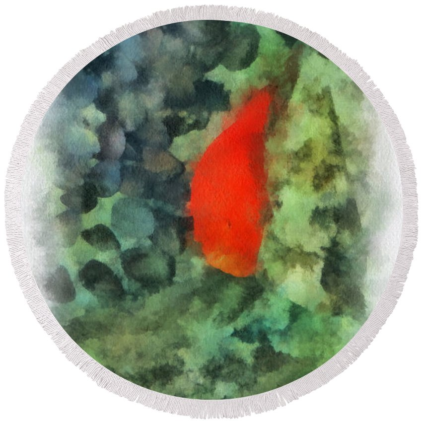 Pet Round Beach Towel featuring the photograph Goldfish Photo Art 04 by Thomas Woolworth